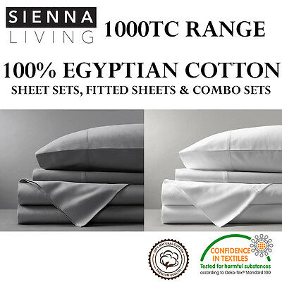Sienna Living 1000Tc Thread Count 100% Egyptian Cotton Sheet Sets, Fitted Sheets