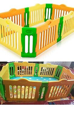 BABY VIVO Baby Playpen 4-Side Foldable Plastic Portable Room Divider Play Pen