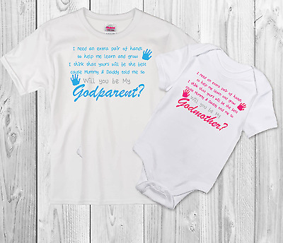 Godparent Personalised Baby/Toddler Vest Newborn Gift - Bodysuit/Grow gift