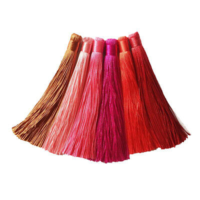 6pcs 6 Colors Silky Tassels Fringe Trim for Hanging Decoration Sewing Crafts