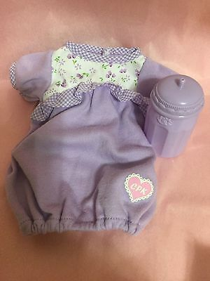 "Lavender Cabbage Patch Doll Bunting Clothes & Bottle CPK for 12"" Doll"