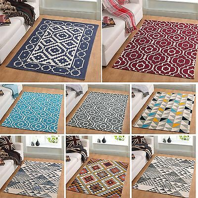 New Small and Extra Large Modern Soft Multi Coloured Geometric Printed Rugs