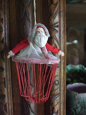 Vintage Inspired Santa Claus Candy Container Christmas Tree Ornament Basket Net