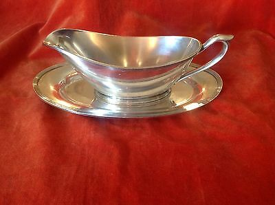 ONEIDA COMMUNITY PAR PLATE Art Deco Gravy Boat And Tray
