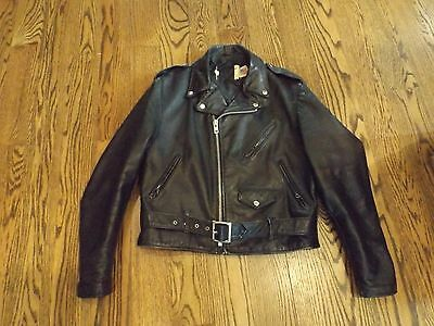 Vintage Schott Black Leather Perfecto Motorcycle Jacket Size 42
