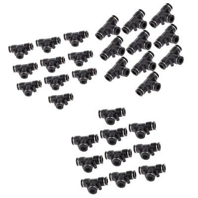 30pcs 6mm-10mm 3 Sizes Equal Tee Air Quick Fittings Push In Type