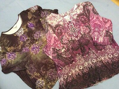 CJ BANKS Womens Size 2X Lot of 2 Shirts Knit Stretch 3/4 Sleeves Purple