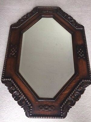 Antique Hexagonal Carved Oak Mirror
