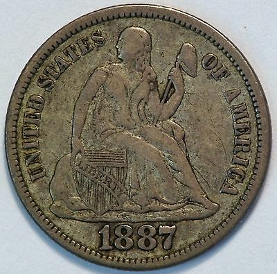 1887 S 10C US Seated Liberty Silver Dime Coin (05878)