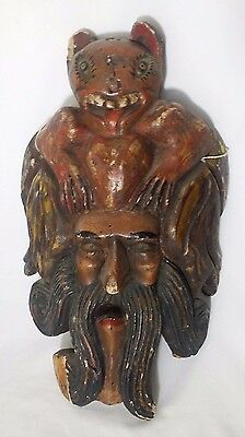 HUGE Handmade Driftwood Carved Sea God with Demon - NAUTICAL FOLK ART Decor