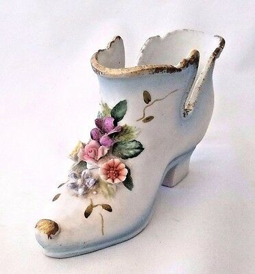 Antique French Porcelain Bisque Miniature Boot Shoe Roses Flowers Gold 1938