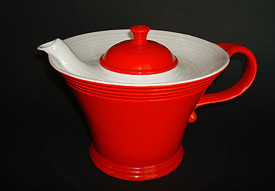 "Large 6"" Art Deco Retro Red & White HALL #1  - MELODY - China Porcelain Teapot"