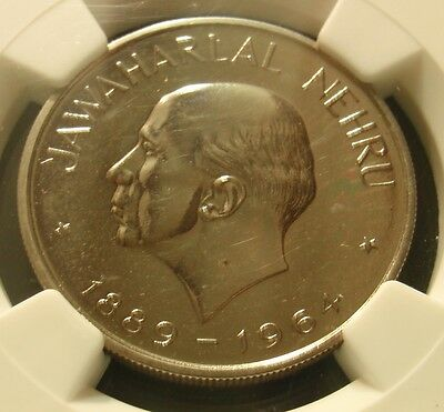1964-B Rare Proof India DEATH OF JAWAHARLAL NEHRU RUPEE - NGC PR63 PF63 Rare