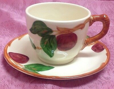 Franciscan Apple (Made In Usa) Cup And Saucer Set Handpainted Cal Mint Nice!!
