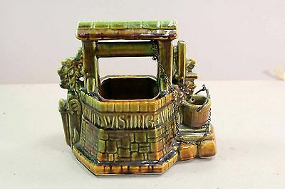 "McCoy Wishing Well Mid Century Pottery Window Planter Pot 7""  Brown Green"