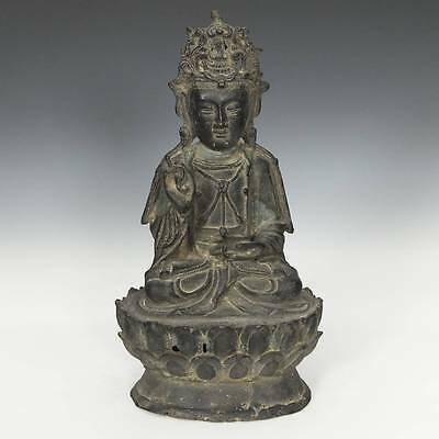 Antique Chinese Cast Iron Sculpture Quan Yin Qing Dynasty Lotus Buddhism 19Th C.