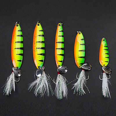 Fishing Spinner Bait Fishing Lure Shine Metal Hard Lure Hook With Feather 1/4pcs
