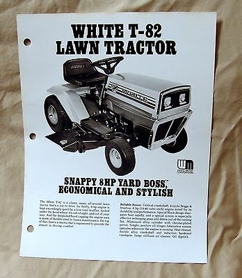 Vintage White Outdoor Products T-802 Lawn Tractor Advertising Brochure -Ca 1977!