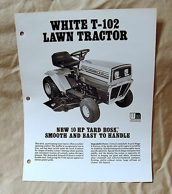 Vintage White Outdoor Products T-102 Lawn Tractor Advertising Brochure -Ca 1976!