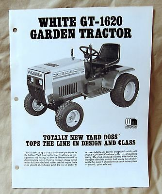 Vintage White Outdoor Products GT1620 Lawn Tractor Advertising Brochure-Ca 1976!