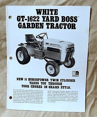 Vintage White Outdoor Products GT1622 Lawn Tractor Advertising Brochure-Ca 1977!