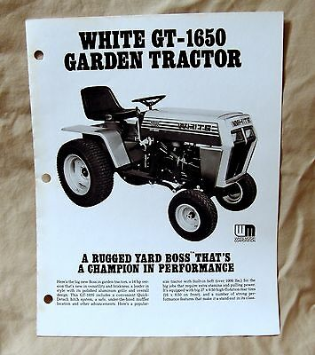 Vintage White Outdoor Products GT1650 Lawn Tractor Advertising Brochure-Ca 1977!