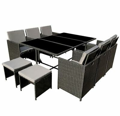 New Outdoor Garden Furniture Set Patio Poly Rattan Conservatory Black cube 11Pc