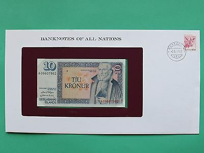 1961 Iceland 10 Kronur Uncirculated Franklin Mint Banknote Cover SNo46129