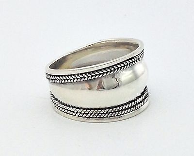 Mens Womens Sterling Silver 925 Bali Artisan Wide Band Boho Ring Size 8