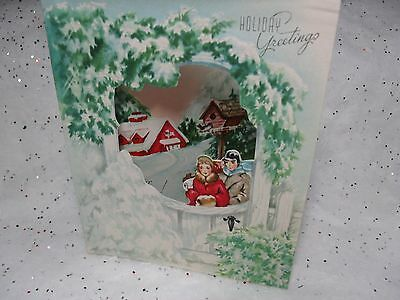 UNUSED Vintage Christmas Greeting Card Couple in Snow Cut Out