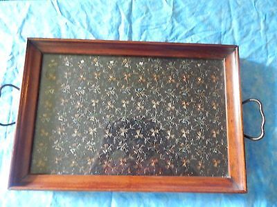 Royal Rochester Wood &  Glass  brass handle tray 011641