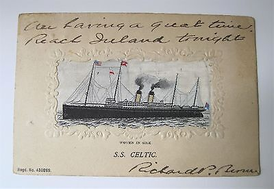 POSTCARD Woven in Silk S.S. CELTIC White Star Line SHIP Ocean Liner 1904