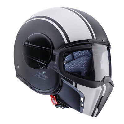 Caberg Ghost Open Face Motorcycle Helmet With Face Mask Legend Matt Black/White