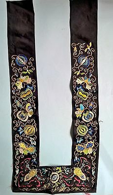 Antique Chinese Embroidered FORBIDDEN STITCH Silk Panel/Stole/Sleeve GOLD METAL