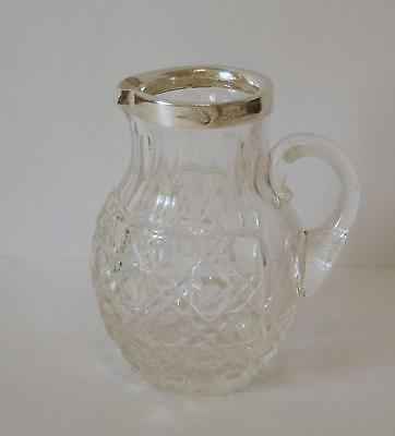 An Antique Sterling Silver Rimmed Cut Glass Cream Jug London 1900 William Comyns