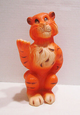 "ESSO EXXON GAS STATION TIGER MASCOT 8"" VINYL ADVERTISING BANK AD FIGURE 1960's"