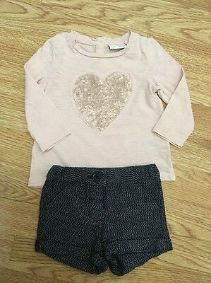 Next Signature Baby Girls Sequinned Heat Top & Shorts 3-6 Months Vgc