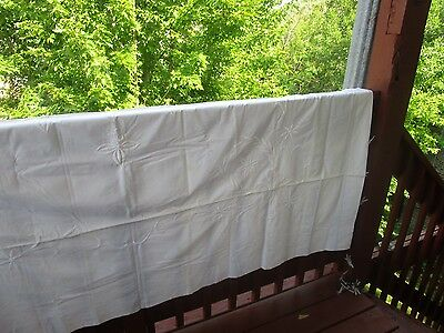 Vintage White Cotton Embroidered Tablecloth 72x91