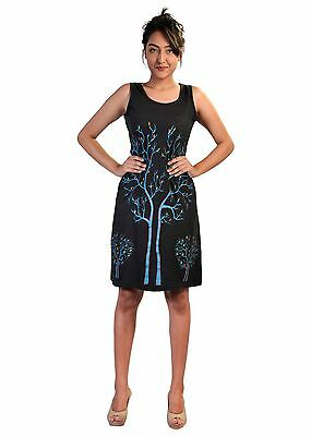 Tattopani Women Summer Sleeveless Dress With Tree Branches Print Design