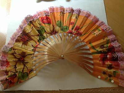 Chinese Bamboo Cloth Hand Held Orange Floral Bamboo Folding Fan or Hat