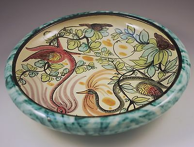Mid Century Italian Pottery Mod Roosters Large Low Bowl Hand Painted Paul's