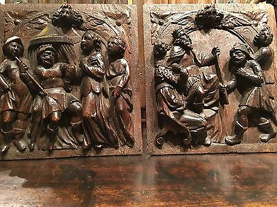 TWO RARE 17th CENTURY SMALL DEEP CARVED PANELS