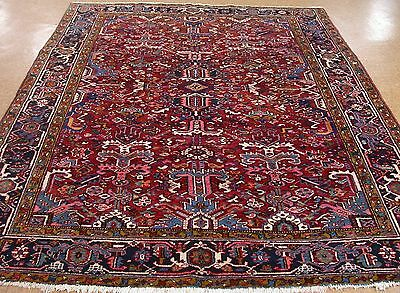 8 x 10 Antique PERSIAN HERIZ Serapi Tribal Hand Knotted Wool RED Oriental Rug