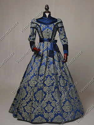 Victorian Civil War Regal Dark Queen Dress Witch Ghost Halloween Costume C021