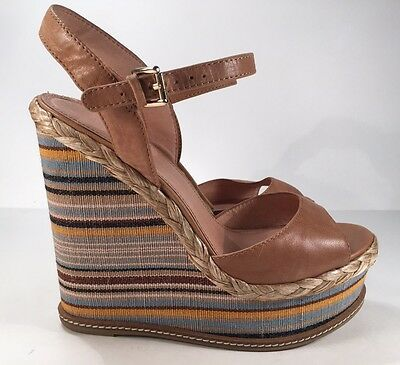 Aldo Tan/Multi-Colored Leather Ankle Strap Wedges Women's Sz 9 High Heel