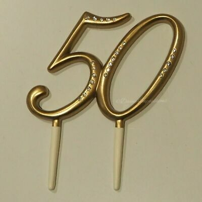 50 50th Birthday Gold Golden Anniversary Cake Topper with Diamante / Rhinestone