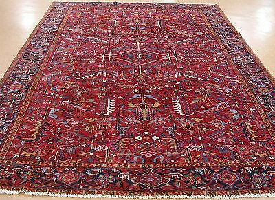 8 x 12 Antique PERSIAN HERIZ Serapi Tribal Hand Knotted Wool RED Oriental Rug