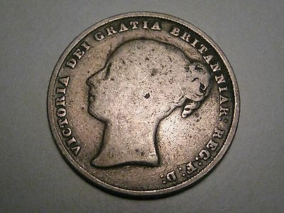 Scarce Date 1845 Sterling Silver Shilling. Great Britain. Young Victoria.