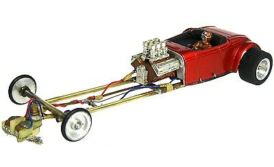 Vintage 1/32 1/24 Deuce Roadster Dragster Slot Car w/Brass Tube Chassis Cox 3600