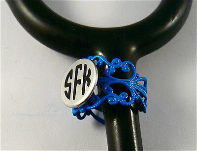 Stethoscope Id Tag Ring Cuff Blue Lace Charm, Nurse,paramedic,emt,doctor,vet.er,